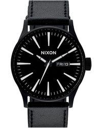 Nixon Sentry Black / White Leather Watch - Lyst