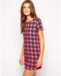 AX Paris Shift Dress In Dogstooth - Lyst