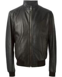 Dolce & Gabbana Leather Zip Jacket - Lyst
