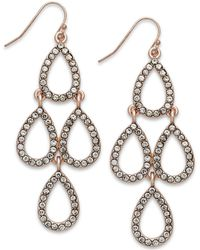 Inc International Concepts Rose Gold-Tone Crystal Teardrop Chandelier Earrings - Lyst