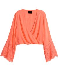 H&M Blouse With Trumpet Sleeves - Lyst