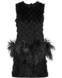 Lanvin Feather-trimmed Metallic Fil Coupé Mini Dress - Lyst