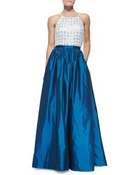 Aidan Mattox - Pleated Taffeta Ball Skirt - Lyst