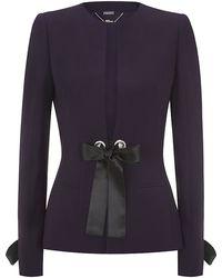 Alexander McQueen Satin Bow Crepe Jacket - Lyst