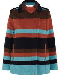 See By Chloé Striped Felt Coat - Blue