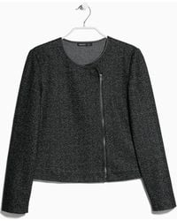 Mango Herringbone Wool Blend Jacket - Lyst