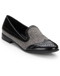 Franco Sarto Herringbone Tweed  Faux Leather Flats - Lyst