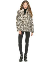 Theory Sociable Lianamar Leopard Fur Coat - Naturalbrown - Lyst