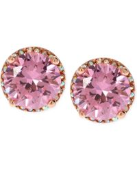 Betsey Johnson Rose Gold-tone Pink Crystal Stud Earrings - Lyst