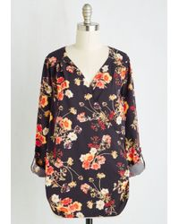 ModCloth | Elegant Epiphany Top In Navy Floral | Lyst