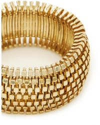 Kenneth Jay Lane Metal Weave Thick Elastic Bracelet gold - Lyst