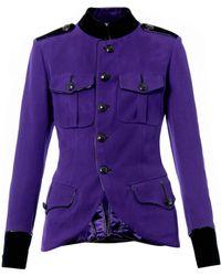 Jean Paul Gaultier Leathertrim Military Jacket - Purple