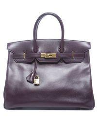 Hermès Pre-Owned Rasin Boxcalf Birkin 35Cm Bag purple - Lyst