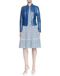Alexander McQueen Glove Leather Jacket and Embossed Knit A-line Dress - Lyst