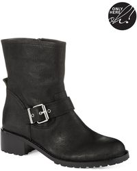424 Fifth Wann Leather Combat Boots - Black
