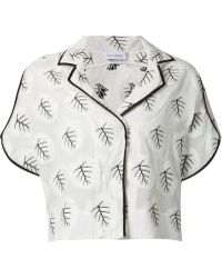 Yigal Azrouël Palm Leaf Short Sleeve Blouse white - Lyst