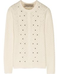 Lela Rose Embellished Cable-Knit Wool And Cashmere-Blend Sweater - Lyst