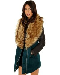 Missguided Orla Faux Fur Collar Detail Coat in Deep Green - Lyst