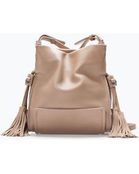 Zara Tasselled Mini Bucket Bag - Lyst