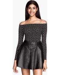 H&M Black Offtheshoulder Top - Lyst