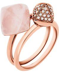 Michael Kors | Rose Gold-tone Rose Quartz Ring Stack | Lyst