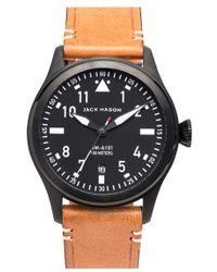 Jack Mason Brand 'aviation' Leather Strap Watch - Black