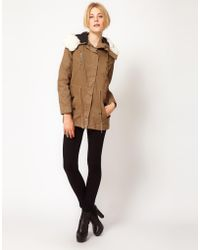 IRO - Parka Style Coat with Faux Shearling Trim To Hood - Lyst