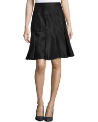 J. Mendel Scuba Silk Skirt W/ Pleated Hem - Lyst