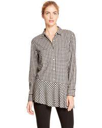 DKNY Pure Check Flutter Hem Shirt - Lyst