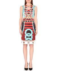 Versace Printed Satin Dress - Lyst