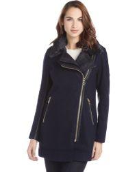 Sam Edelman Dark Ink Wool Moto Double Collar Faux Fur Wool Coat - Lyst