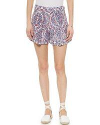 Rebecca Taylor Paisley Print Shorts - Admiral Combo - Lyst