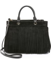 MILLY - Essex Suede Tote - Black - Lyst