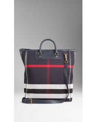 Burberry Large Canvas Check And Leather Tote Bag - Lyst
