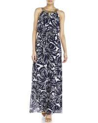 Vince Camuto Navy Floral Blouson Maxi Dress - Lyst