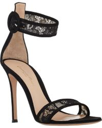 Gianvito Rossi Lace-inset Ankle-strap Sandals - Lyst