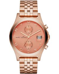 Marc By Marc Jacobs Women'S Slim Chrono Rose Gold-Tone Stainless Steel Bracelet Watch 39Mm Mbm3384 - Lyst