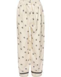 Alexander McQueen Skull Silk Pajama Set - White
