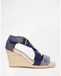 G-Star RAW Aria Cross Strap Wedge Sandals - Blue