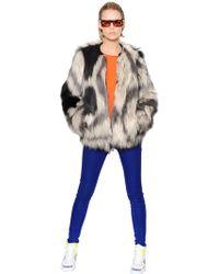 Urbancode Printed Faux Fur Coat - Lyst