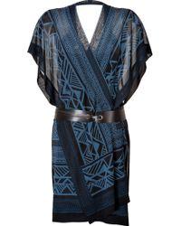 Donna Karan New York Printed Silk Wrap Dress - Lyst
