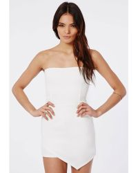 Missguided Eileen Scuba Asymetric Bandeau Playsuit White - Lyst