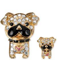 Betsey Johnson Gold-Tone Crystal Accent Bull Dog Pin Set - Metallic