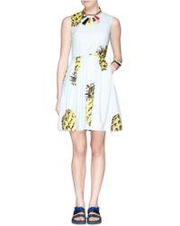 MSGM Pineapple Print Poplin Dress - Lyst
