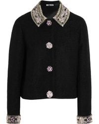 Holly Fulton - Embellished Wool-blend Bouclé Jacket - Lyst