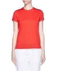 T By Alexander Wang Roll Cuff Superfine Cotton T-Shirt orange - Lyst