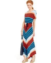 Tommy Hilfiger Multi-Stripe Belted Maxi Dress - Lyst