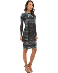 Nicole Miller Stretch Spandex Printed Ls Dress - Lyst