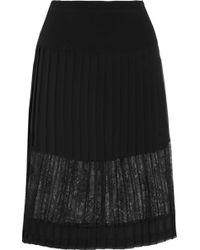 Sandro Jim Lace-Paneled Chiffon Skirt - Lyst