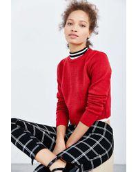 Cooperative Shrunken Crew Neck Sweater - Red